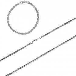 Juego plata Ley 925m 4mm. salomónico cordón 40 pulsera 20 [8758]