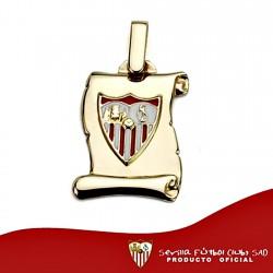Colgante pergaminto escudo Sevilla FC oro de ley 9k 17mm. [8697]