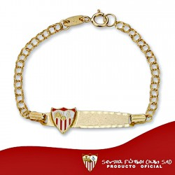 Pulsera esclava escudo Sevilla FC oro de ley 9k bebé [8698]