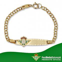 Pulsera esclava escudo Real Betis oro de ley 9k bebé [8713]