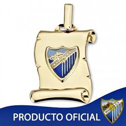 Colgante pergamino escudo Málaga CF oro de ley 9k 21mm. [8729]