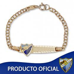 Pulsera esclava escudo Málaga CF oro de ley 9k bebé esmalte [8731]