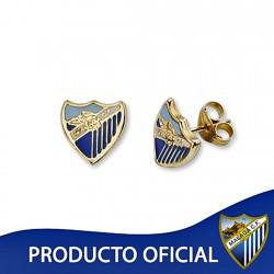 Pendientes escudo Málaga CF oro de ley 9k 8mm. esmalte presión [8734]