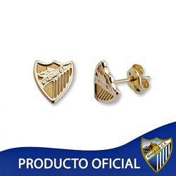 Pendientes escudo Málaga CF oro de ley 9k 8mm. liso presión [8733]