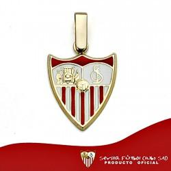 Colgante escudo Sevilla FC oro de ley 18k 16mm. esmalte [8531]