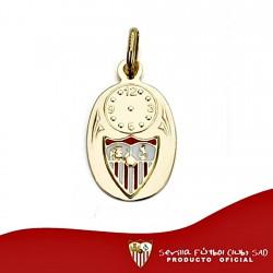 Colgante medalla escudo Sevilla FC oro de ley 18k bebé 15mm. [8550]