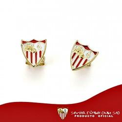 Pendientes escudo Sevilla FC oro de ley 18k 9mm. presión [8551]
