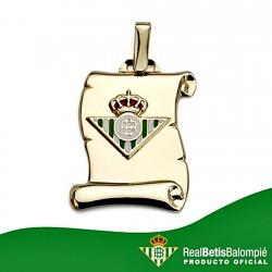 Colgante pergamino escudo Real Betis oro de ley 18k mediano [8610]