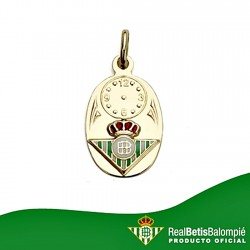 Colgante medalla escudo Real Betis oro de ley 18k bebé hora [8617]