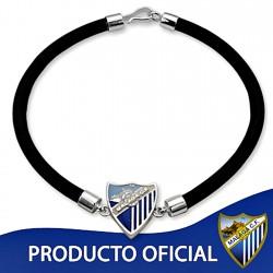 Pulsera escudo Málaga CF plata de ley caucho [8679]