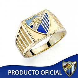 Sello escudo Málaga CF oro de ley 18k caballero estrías [8686]