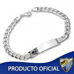 Esclava escudo Málaga CF plata de ley cadete hueca [8507]