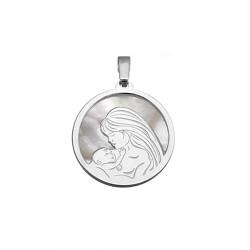 Colgante plata Ley 925m rodiada 20mm. nácar madre hijo mujer
