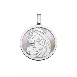 Colgante plata Ley 925m rodiada 25mm. nácar madre hijo [8795]