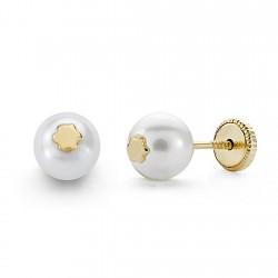 Pendientes oro 18k perla 6mm.  estrella cierre tornillo [8810]
