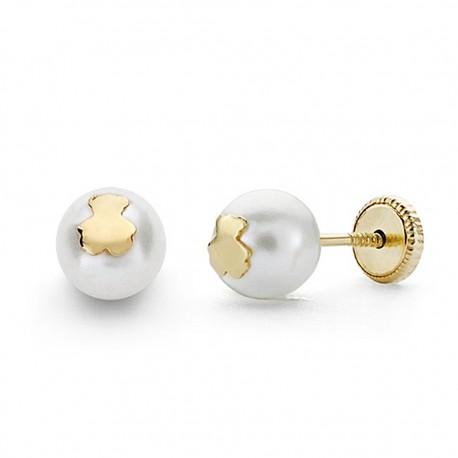 Pendientes oro 18k perla 6mm.  osito cierre tornillo [8811]