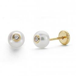 Pendientes oro 18k perla 5mm. circonita cierre tuerca [8820]