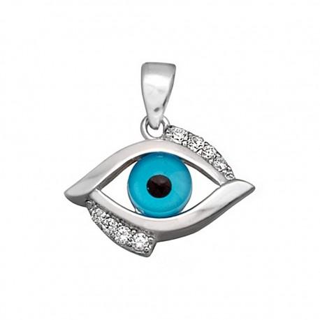 Colgante plata ley 925m. ojo de la suerte circonitas [8928]