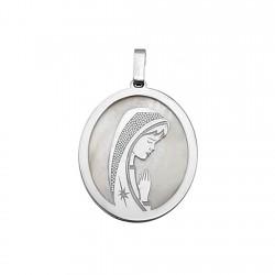 Medalla plata ley 925m. Virgen Niña nácar oval rodiada [8951]