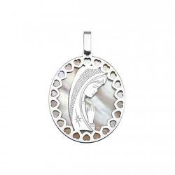 Medalla plata ley 925m. Virgen Niña nácar ovalada rodiada [8972]