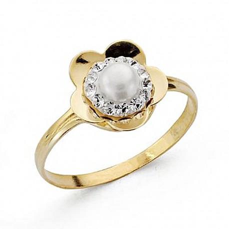Sortija oro 18k comunión perla circonita [8990]