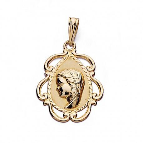 Medalla oro 18k Virgen Niña 22mm. lágrima [8995]
