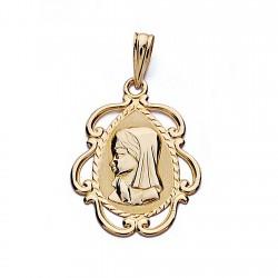 Medalla colgante oro 18k Virgen Niña 22mm. forma lágrima cerco formas calado centro liso