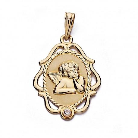 Medalla oro 18k angelito 24mm. cerco [8998]