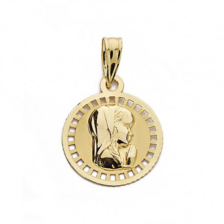 Medalla oro 18k Virgen Niña 17mm. redonda [9002]