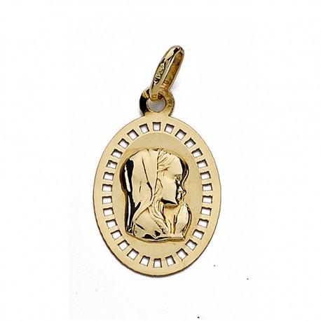 Medalla oro 18k Virgen Niña 19mm. oval calada [9009]