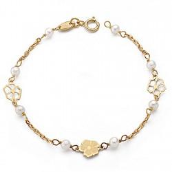 Pulsera oro 18k perlas 3mm. comunión 14,5cm. [9013]