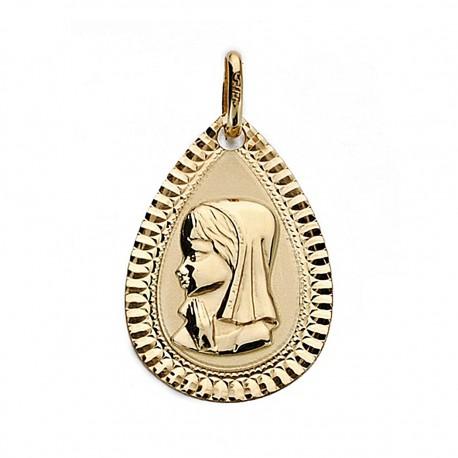 Medalla oro 18k Virgen Niña 20mm. bisel chico [9016]
