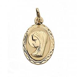 Medalla oro 18k Virgen Niña 20mm. oval [9018]