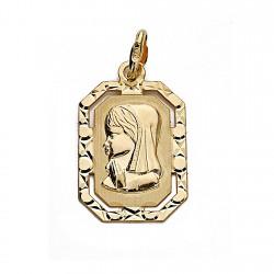 Medalla oro 18k Virgen Nina 20mm. marco [9021]