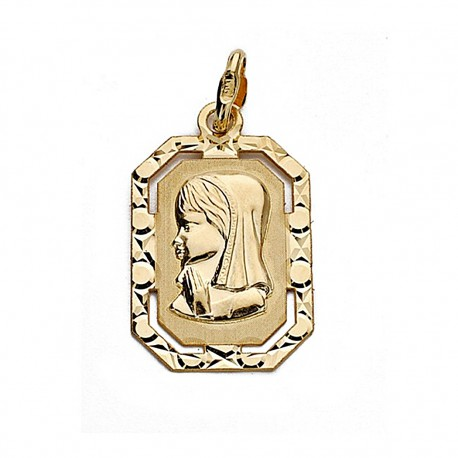 Medalla oro 18k Virgen Niña 20mm. marco [9021]