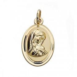 Medalla oro 18k Virgen Niña 19mm. oval bisel [9022]