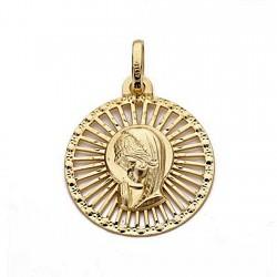 Medalla oro 18k colgante 20mm. Virgen Niña forma redonda centro calado