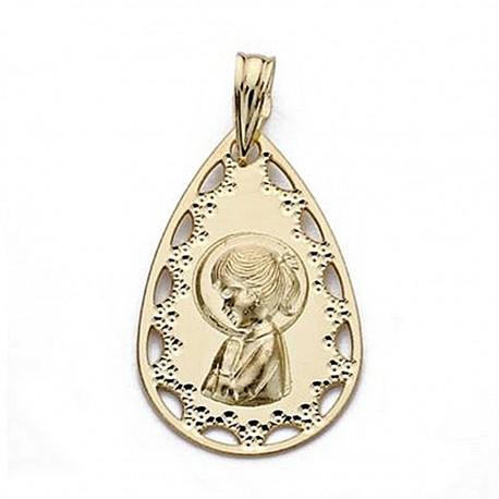 Medalla oro 18k Virgen Niña 22mm. lágrima calada [9029]