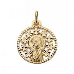 Medalla colgante oro 18k Virgen Niña 19mm. redonda calada centro estrellas borde tallado