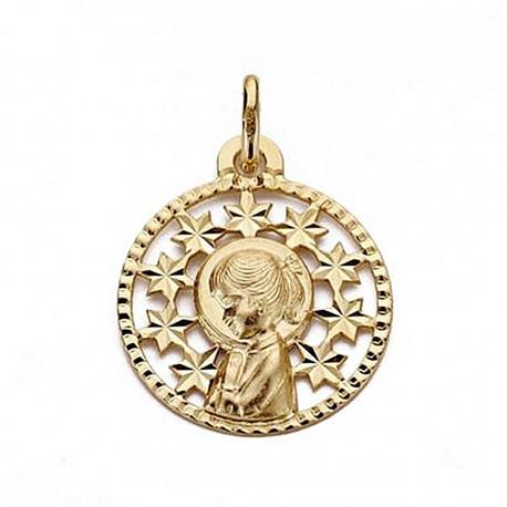 Medalla oro 18k Virgen Niña 19mm. redonda calada [9030]