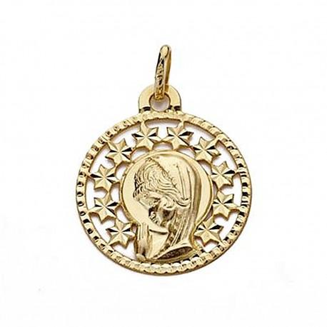 Medalla oro 18k Virgen Niña 19mm. redonda calada [9031]