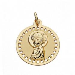 Medalla colgante oro 18k Virgen Niña 18mm. liso circular cerco calado cuadros