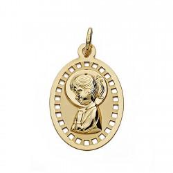Medalla oro 18k Virgen Niña 23mm. oval calada [9034]