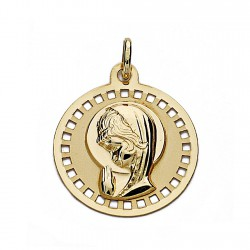 Medalla colgante oro 18k Virgen Niña 18mm. liso circular cerco cuadros calado