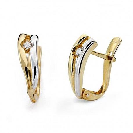 Pendientes oro 18k bicolor circonitas 13mm. comunión [9036]
