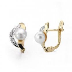 Pendientes oro 18k perla 7mm. bicolor circonitas comunión [9038P]