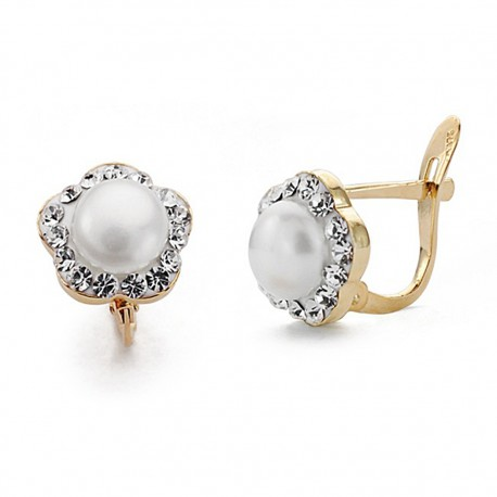 Pendientes oro 18k perla circonitas 9mm. comunión [9042P]