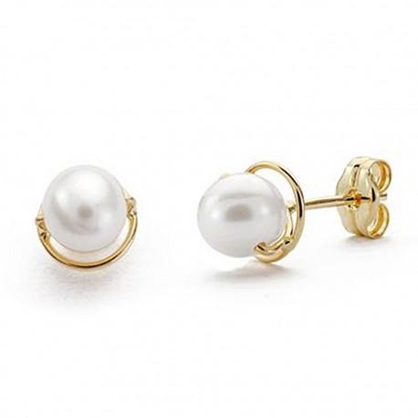 Pendientes oro 18k perla 6mm. comunión cierre presión [9044P]