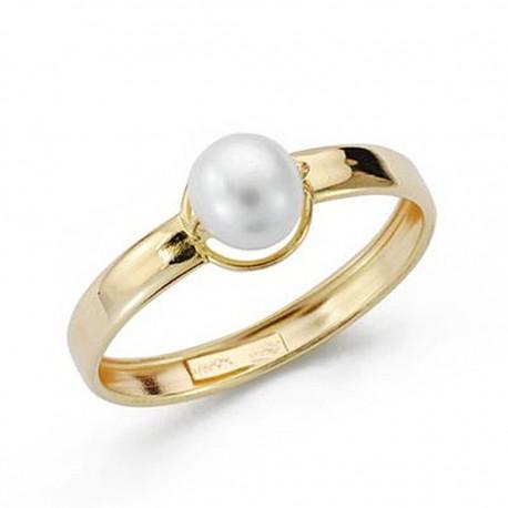 Sortija oro 18k perla comunión [9044S]