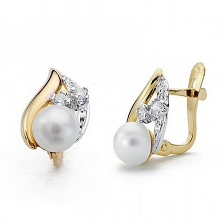 Pendientes oro 18k bicolor perla circonitas 12mm. comunión [9046P]